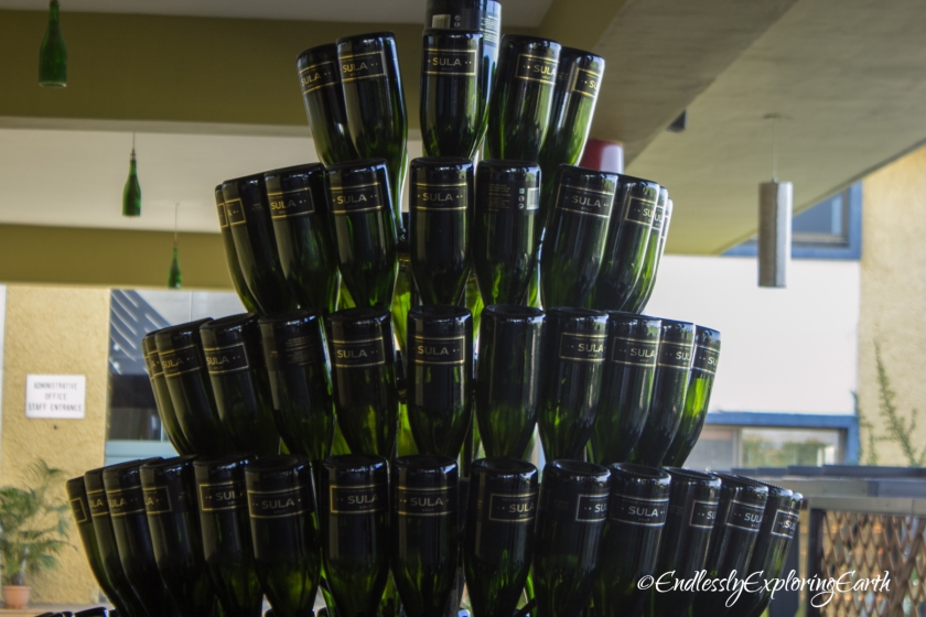Pyramid of Sula Bottles piled up